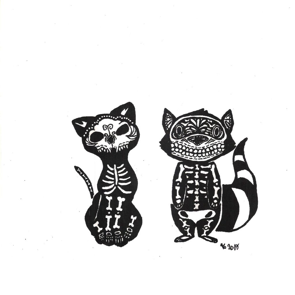 #diademuertos #diadelosmuertos #calacas #calavera #racoon #cat #grafik #graphic #tattoo #annegeorgius #corpusdelicti #principia.discordia