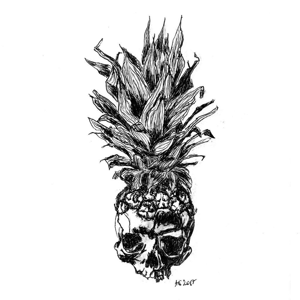 #pinapple #skull #surreal #grafik #graphic #tattoo #annegeorgius #corpusdelicti #principia.discordia