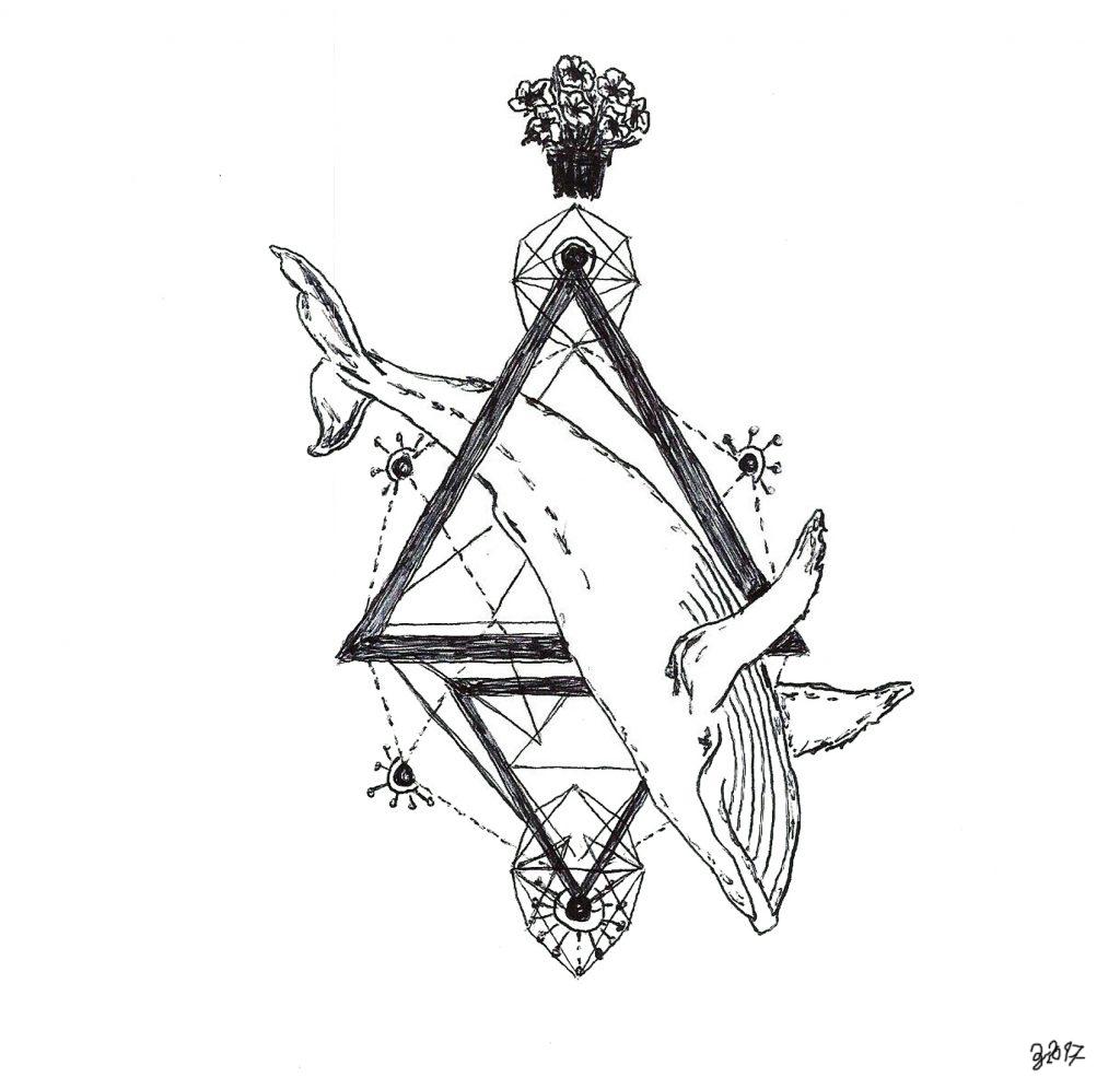 #douglasadams #hitchhikersguide #whale #galaxy #grafik #graphic #tattoo #annegeorgius #corpusdelicti #principia.discordia