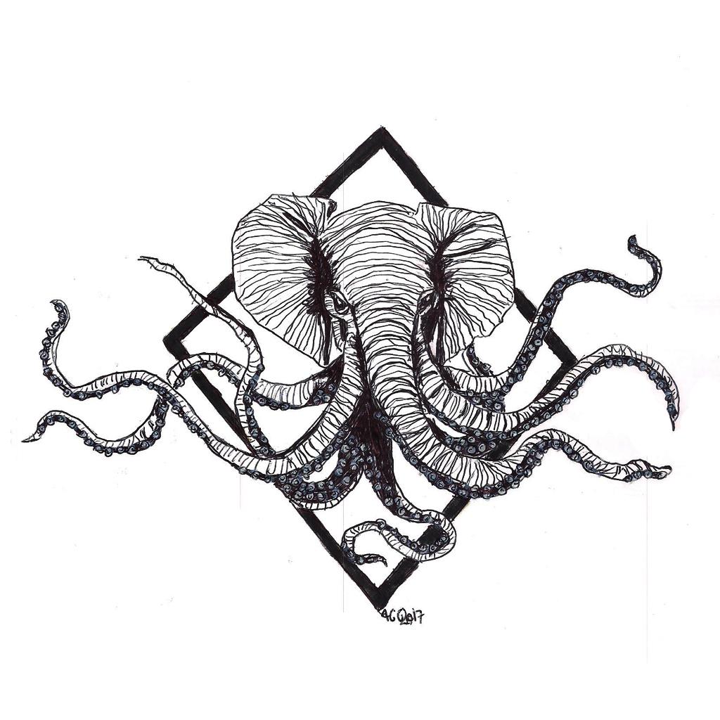 #tentacle #octopus #elephant #elephanthead #grafik #graphic #tattoo #annegeorgius #corpusdelicti #principia.discordia