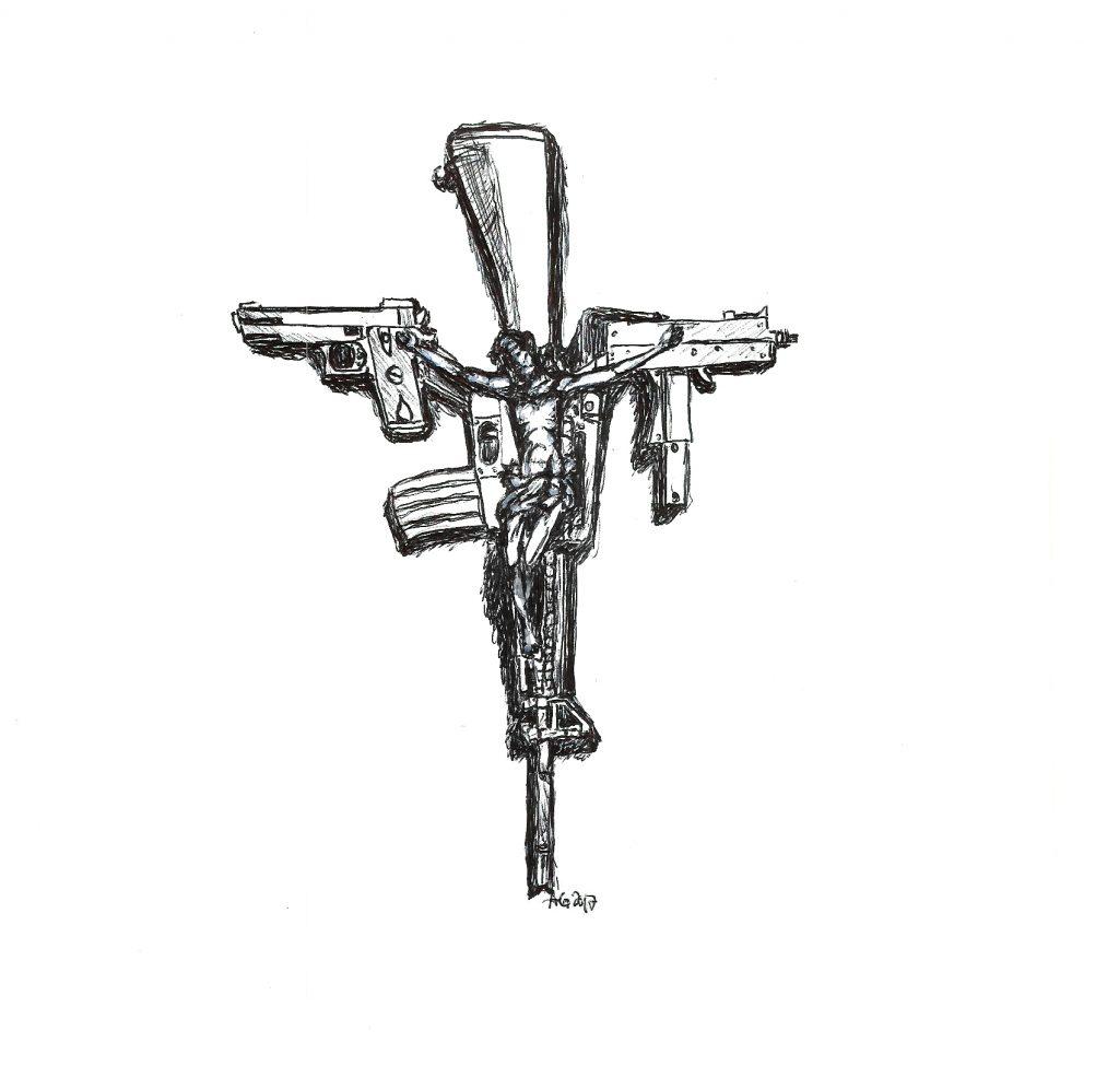 #crucified #jesus #weapons #guns #grafik #graphic #tattoo #annegeorgius #corpusdelicti #principia.discordia