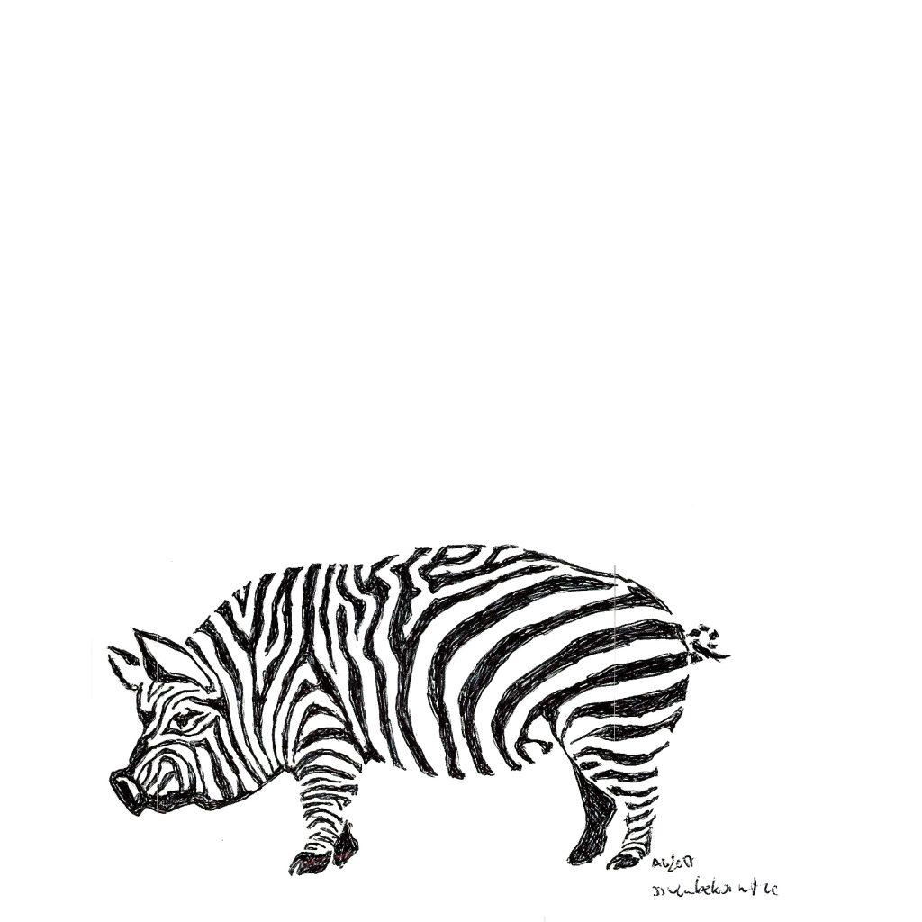 #grafik #graphic #tattoo #annegeorgius #corpusdelicti #principia.discordia #zebra #pig #schwein