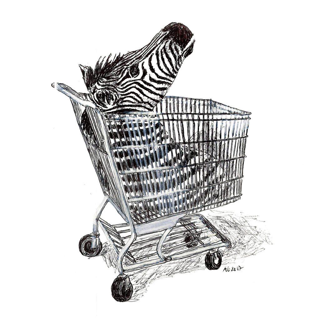 #zebra #shopping #head #zebrakopf #einkaufswagen #grafik #graphic #tattoo #annegeorgius #corpusdelicti #principia.discordia