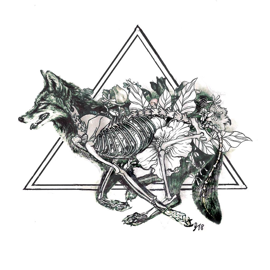 #fox #skeleton #flowers #running #grafik #graphic #tattoo #annegeorgius #corpusdelicti #principia.discordia