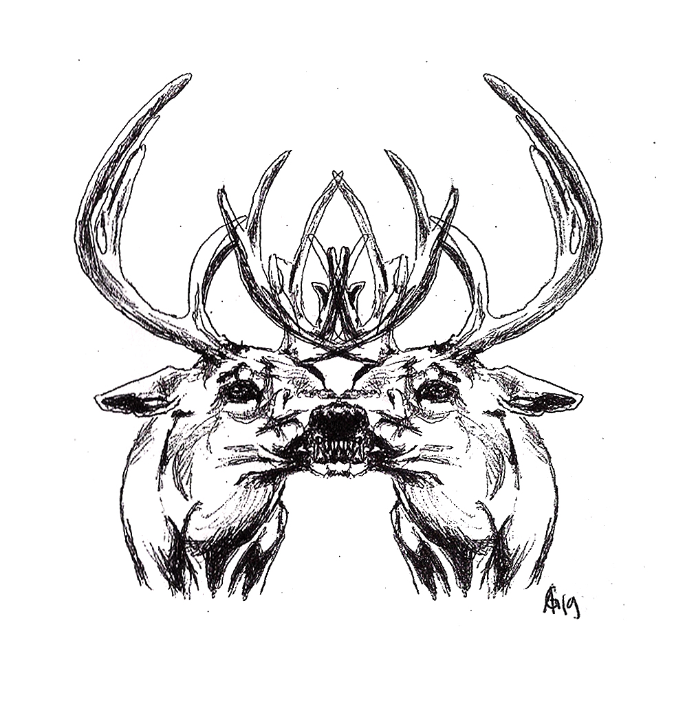 #deers #siamesetwins #snarl #grafik #graphic #tattoo #annegeorgius #corpusdelicti #principia.discordia