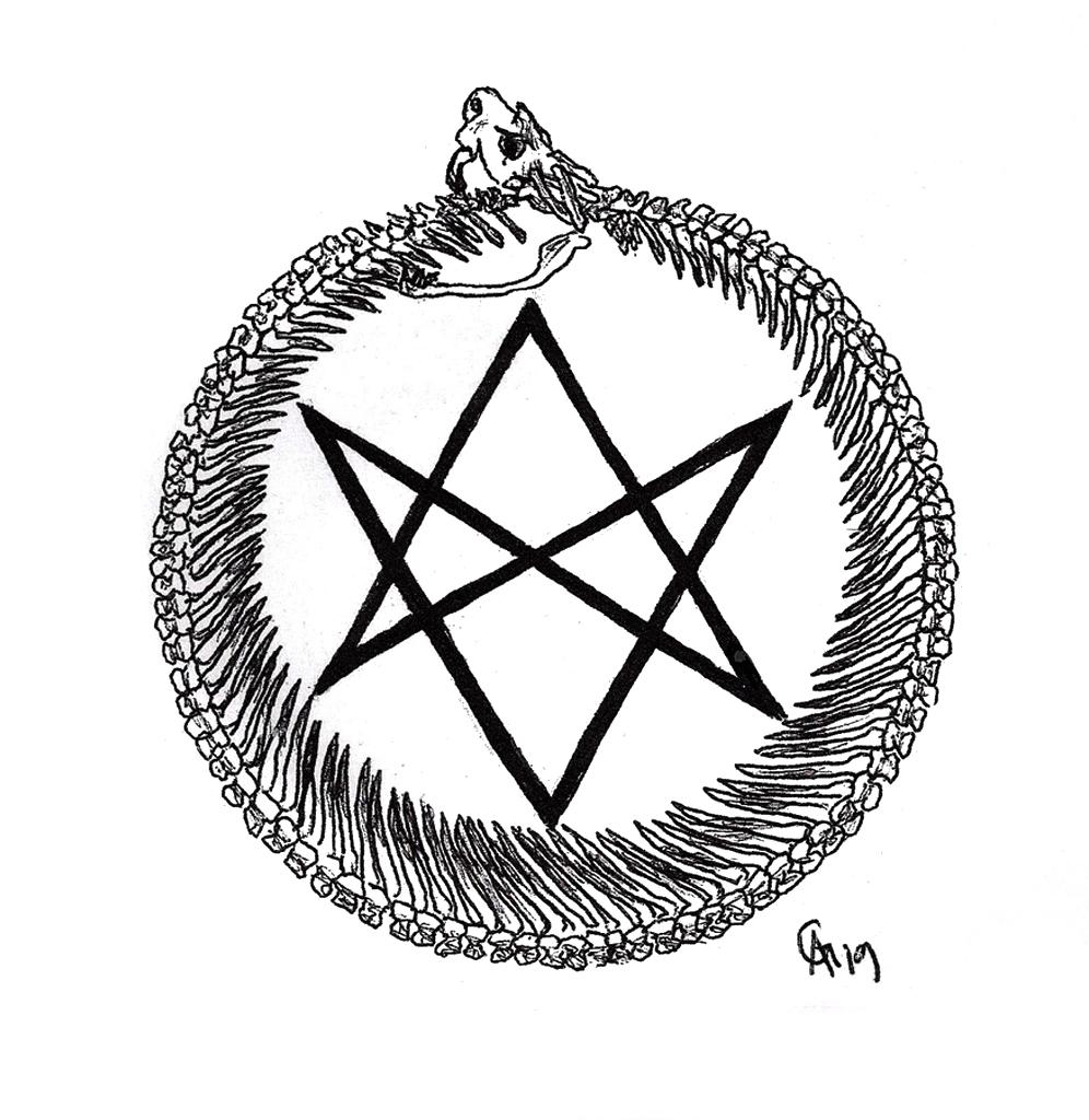 #ouroboros #thelema #snake #bones #skeleton #grafik #graphic #tattoo #annegeorgius #corpusdelicti #principia.discordia