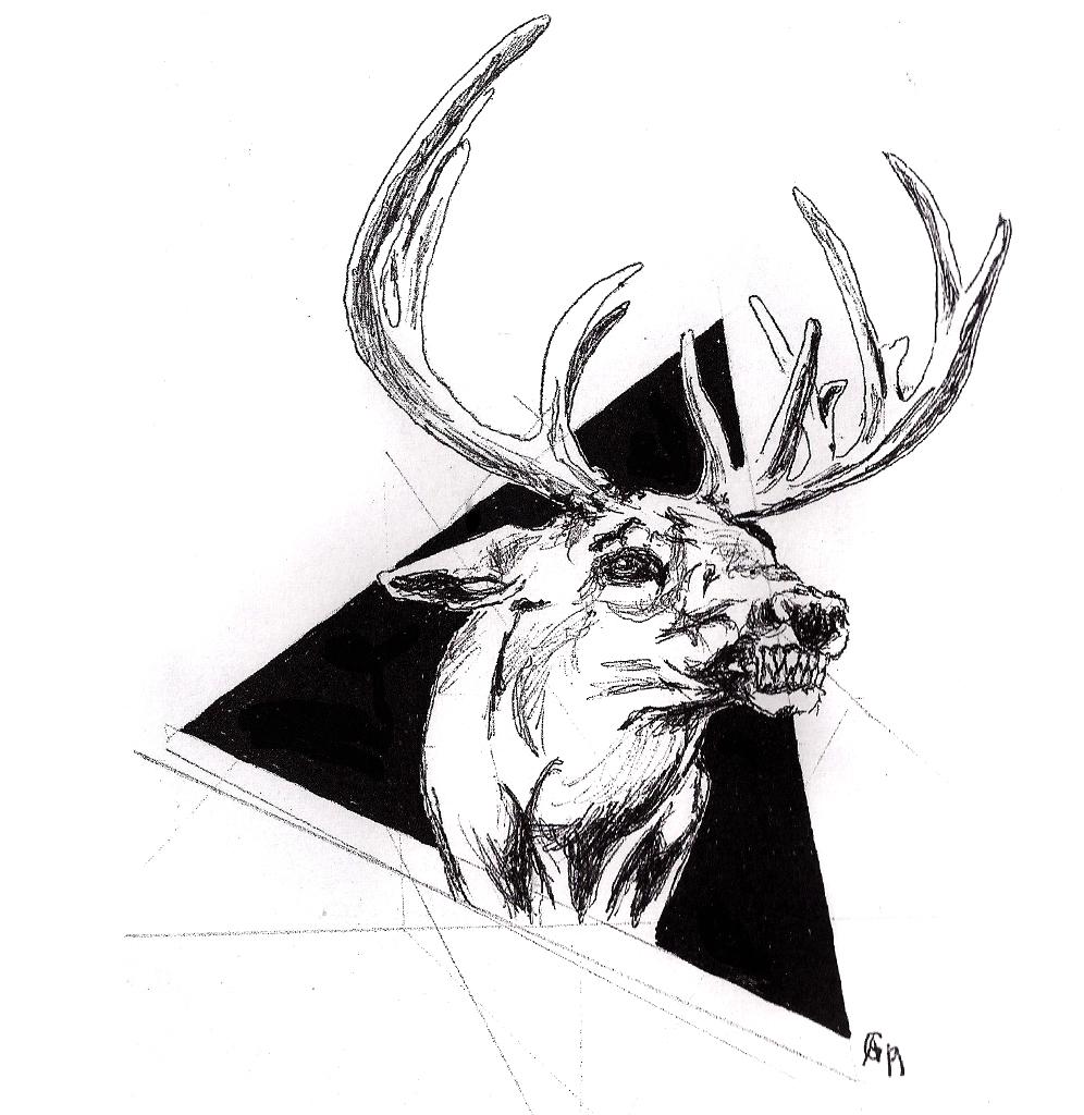 #deer #snarl #gnarl #triangle #grafik #graphic #tattoo #annegeorgius #corpusdelicti #principia.discordia