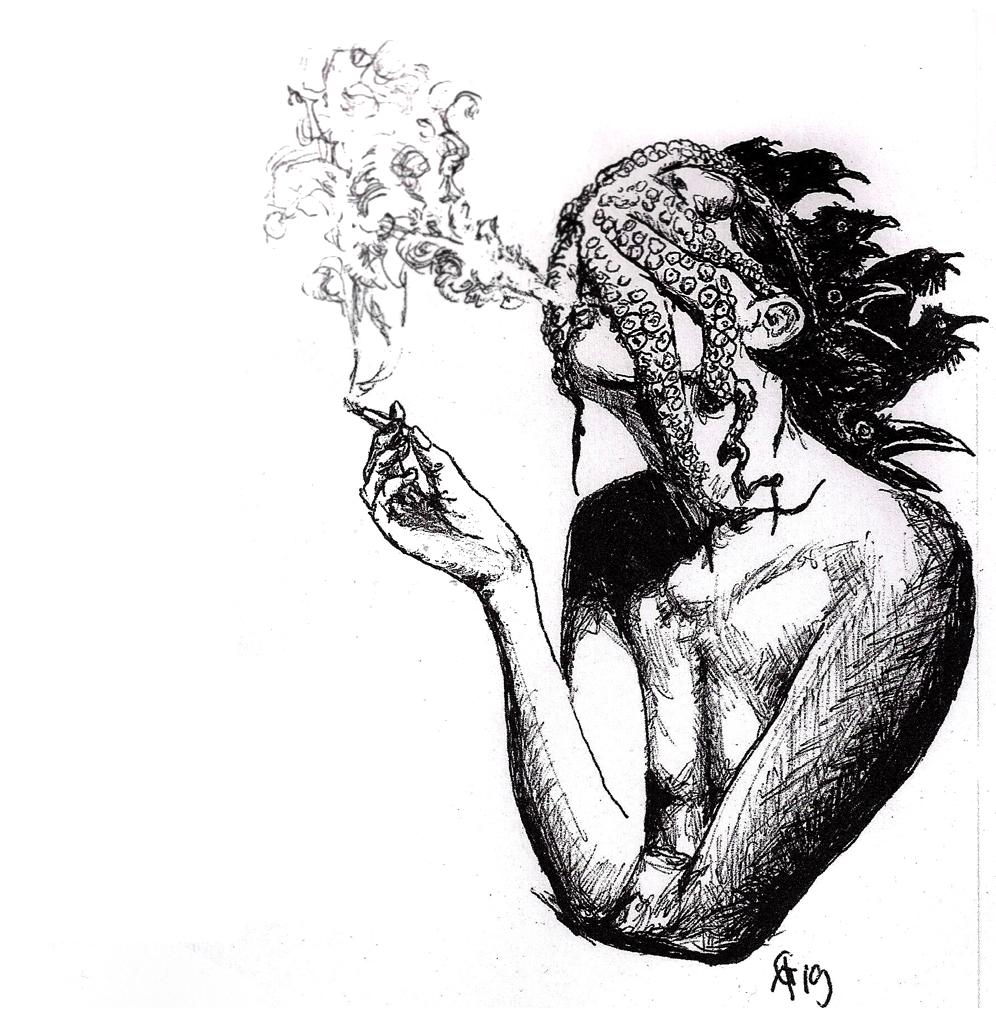 #tentacle #octopus #smoking #rauch #smoke #crows #krähen #faceless grafik #graphic #tattoo #annegeorgius #corpusdelicti #principia.discordia