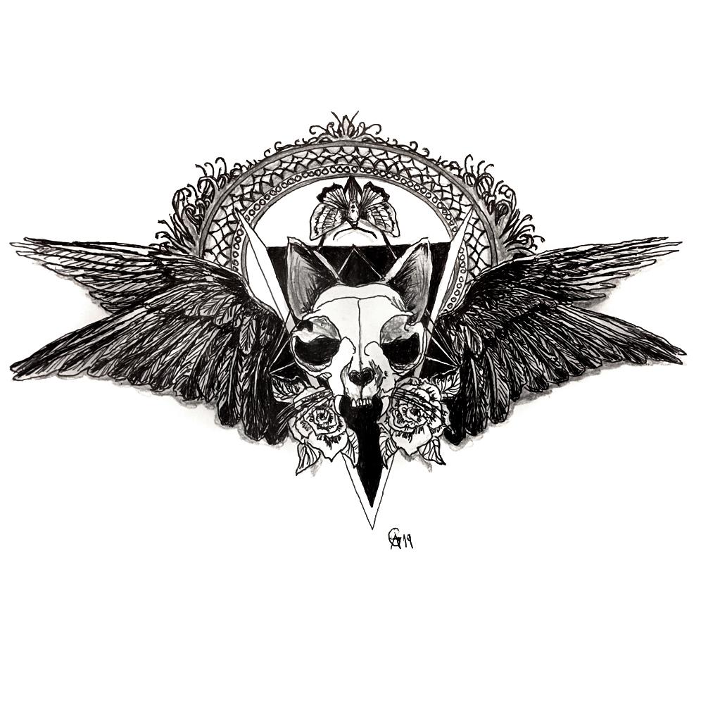 #cat #catskull #wings #crow #grafik #graphic #tattoo #annegeorgius #corpusdelicti #principia.discordia