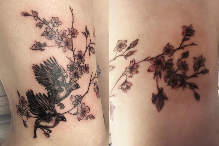 #chaffinchs #chaffinchstattoo #cherryflowers #cherryflowerstattoo #leipzigtattoo #tattooleipzig #bodyart #conceptualbodyart #tattoo #annegeorgius #corpusdelicti #arte.corpus.delicti
